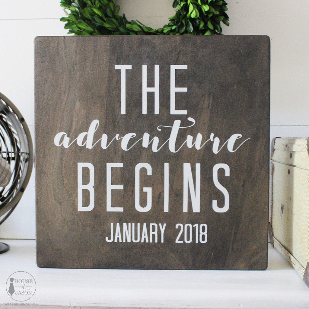 Personalized Wedding Decor, The Adventure Begins, Rustic, Hand Painted Wooden Sign | 12 x 12