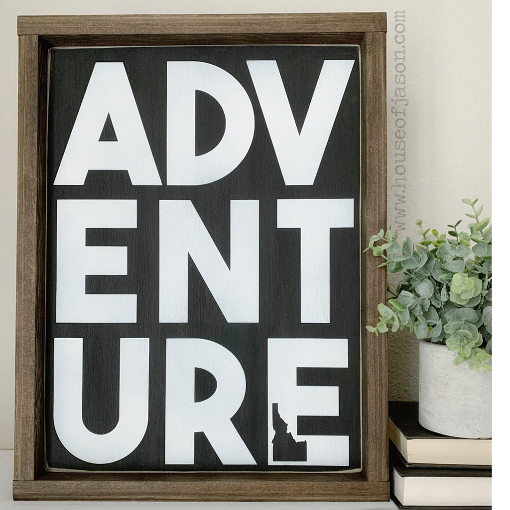 Adventure State Wooden Sign