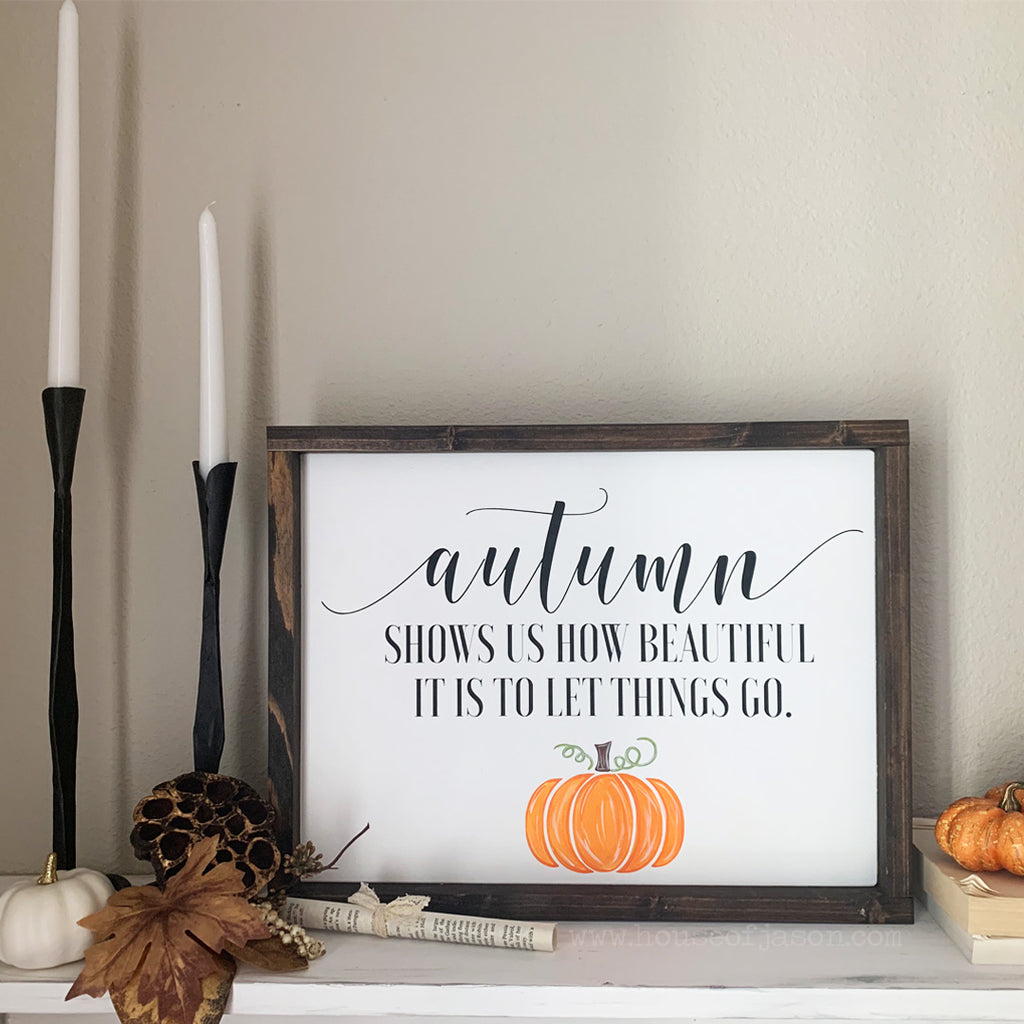 Autumn Wooden Sign with Pumpkin | 16 x 12