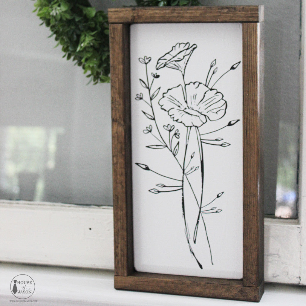 Floral design, boho, boho inspired, flower painting, flower sketch, hand painted signs, hand drawn flowers, poppy, poppy sign, black and white, rustic wooden signs, House of Jason, wood signs
