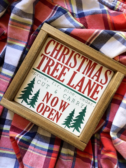 Christmas Tree Lane, Christmas signs, Farmhouse style, Cut and Carry, Wooden Signs, Wood Signs, House of Jason, Christmas mantle, Christmas decor, Christmas vignette, Farmhouse Christmas, rustic signs, Christmas decor,