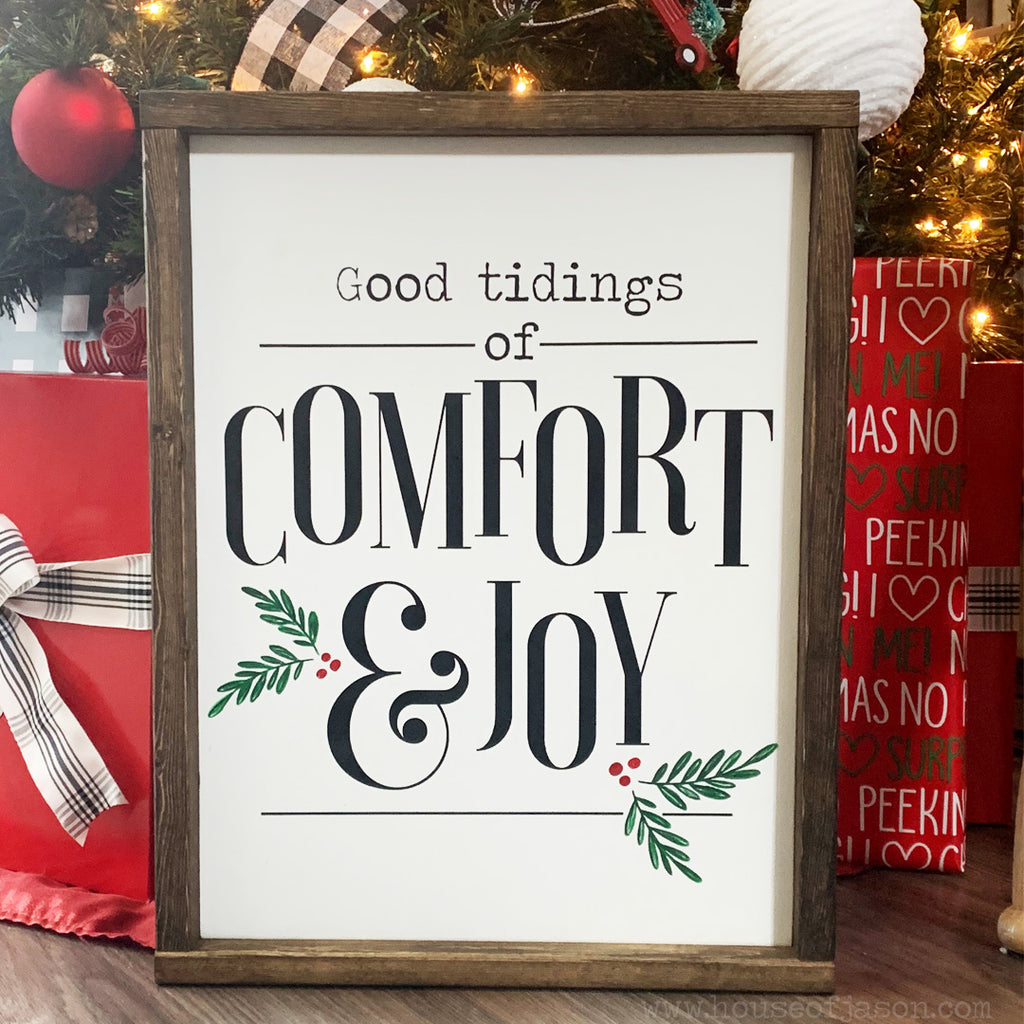 Good tidings of comfort and joy sign, wooden sign, house of Jason, hand painted signs, Christmas decor, Christmas signs, holly, farmhouse Christmas signs, woodwork