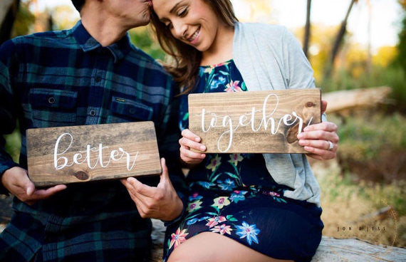 Wedding Photography, Engagement photography, better together, Mr. and Mrs., husband and wife, wooden signs, wood signs, rustic wedding decor, rustic wooden signs, farmhouse style, photo prop, Bridal Shower Signs