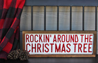 Rockin' Around The Christmas Tree, Hand Painted, Red and White Christmas Wooden Sign | 24 x 8
