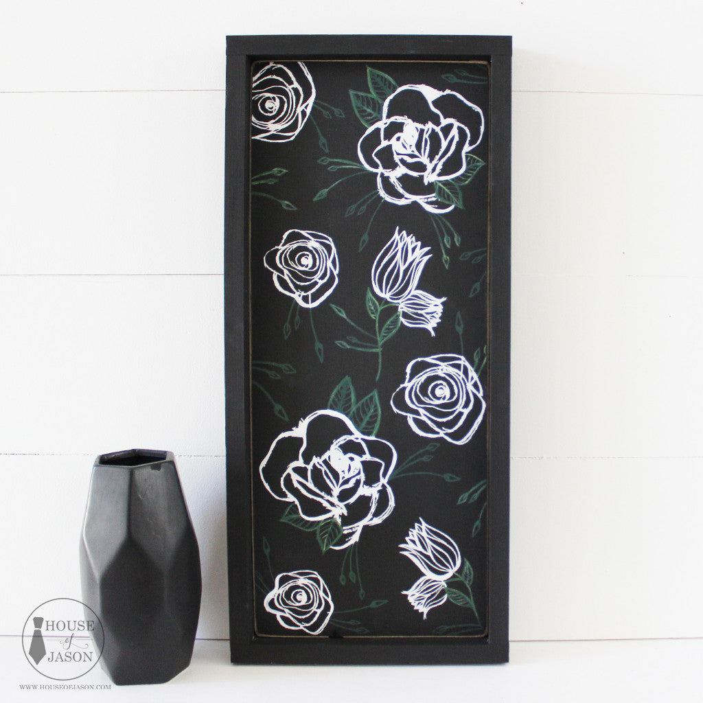 Boho themed, boho chic, shabby chic, black on black, hand painted flowers, hand sketched flowers, black and white, wood signs, statement piece, House of Jason, wooden signs, gallery wall decor, gallery wall
