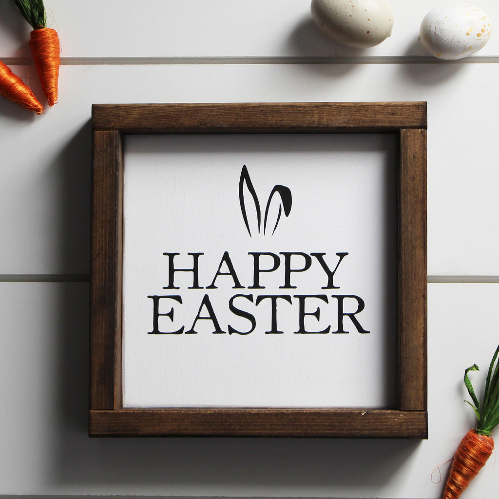 Happy Easter, Black and White Wooden Sign | 8 x 8
