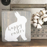 Gray Happy Easter Mini Wooden Sign | 6 x 6