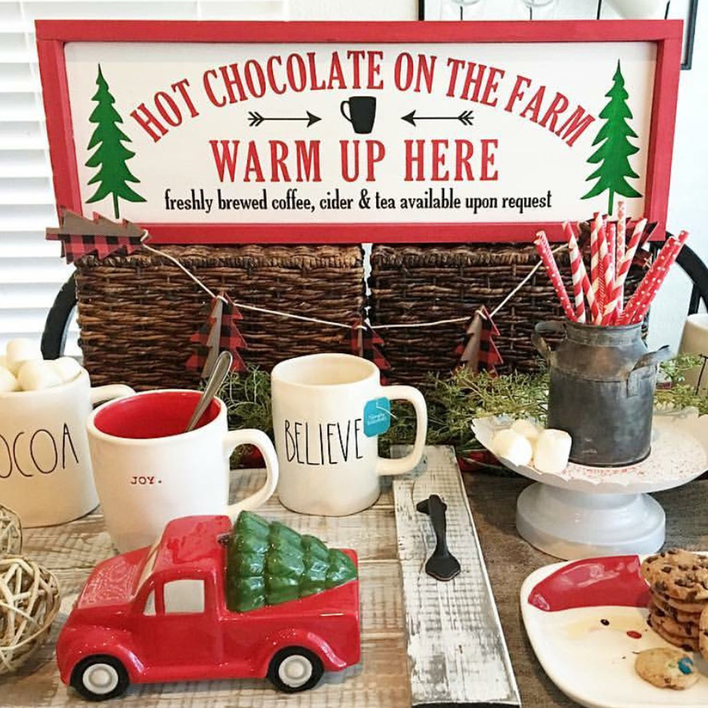 Hot Chocolate on the Farm, Christmas, Farmhouse Style, Hand Painted Wooden Sign | 9 x 24