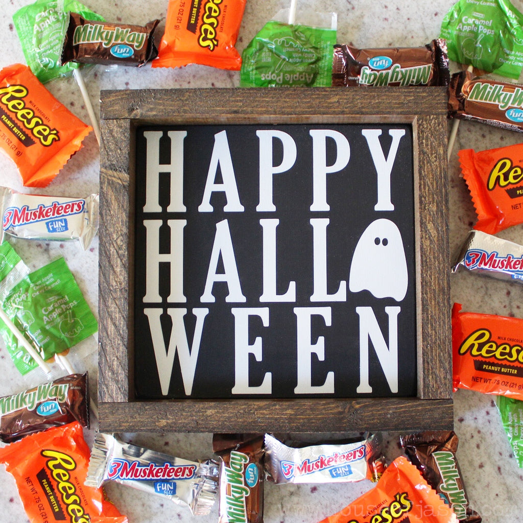 Happy Halloween Hand Painted Wooden Sign | 8 x 8