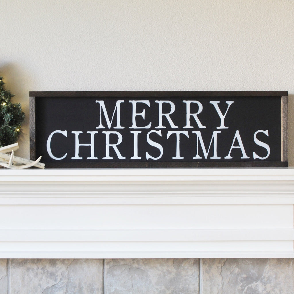 Merry Christmas, Farmhouse Style, Extra Large, Hand Painted Wooden Sign | 10 x 36