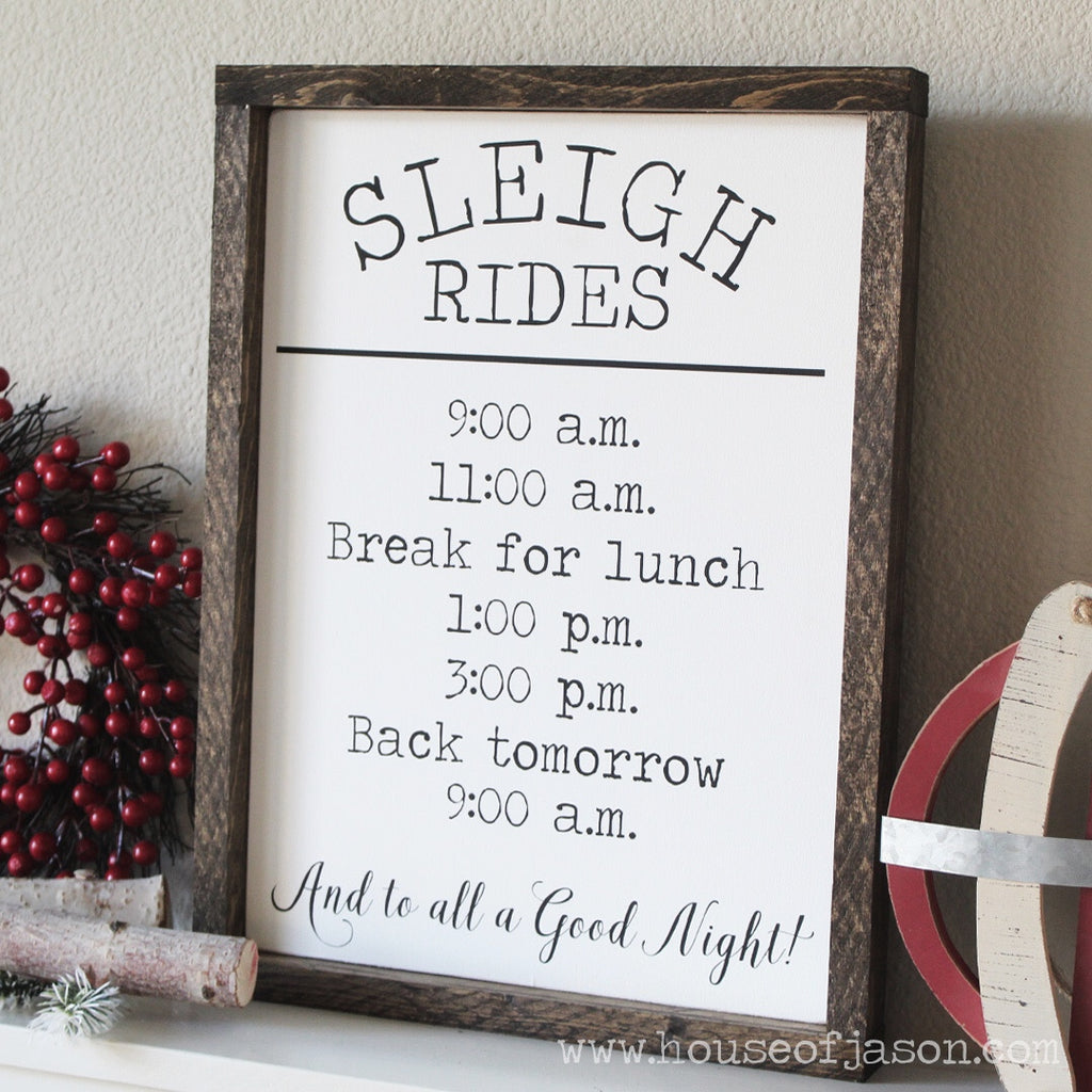Farmhouse Christmas Decor, Sleigh Rides, Hand Painted Wooden Sign