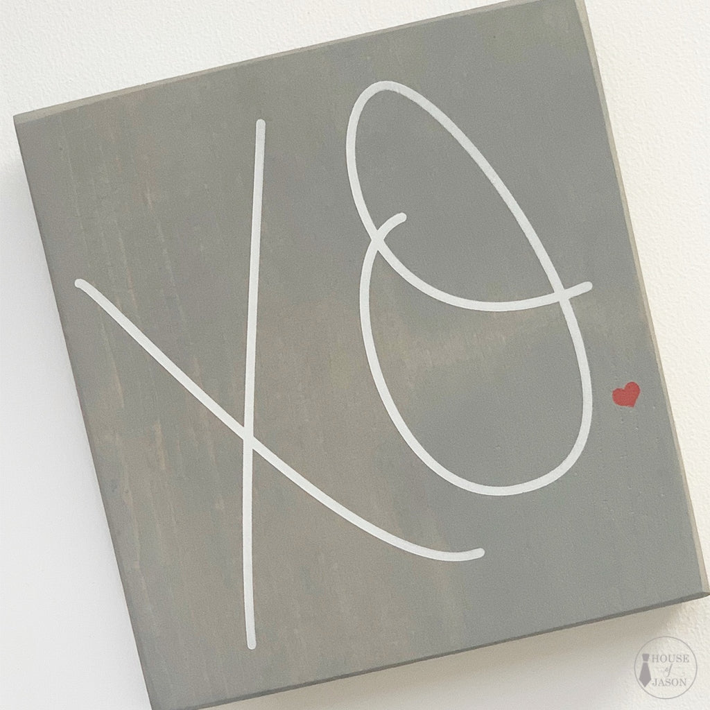 Grey XO Mini Wooden Sign | 6 x 6
