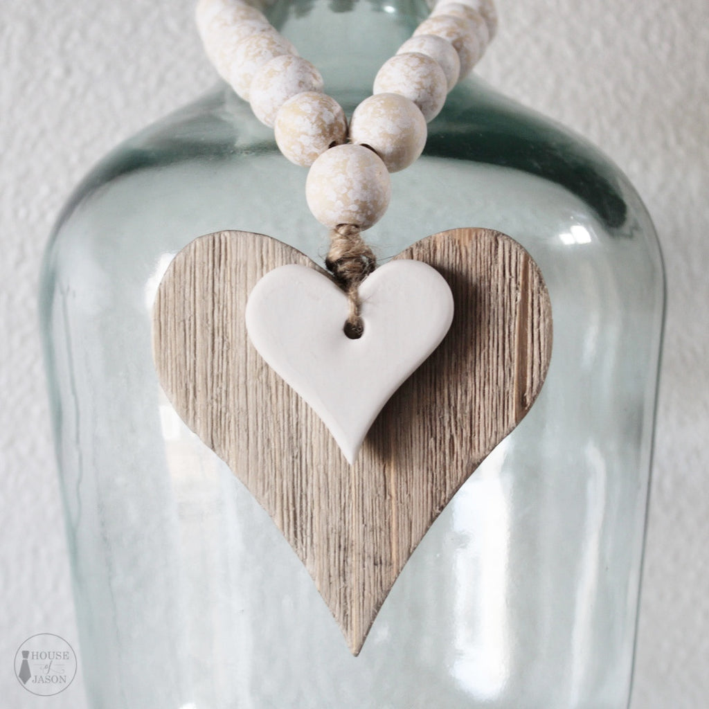 Wooden + Clay Heart Blessing Beads