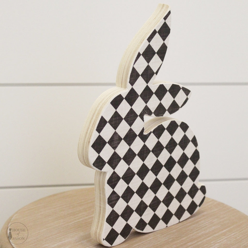 Black and White Checkered, Shelf Sitting Wooden Bunny
