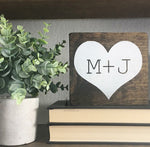 Personalized Initial, Rustic Heart, Hand Painted Mini Wooden Sign | 6 x 6