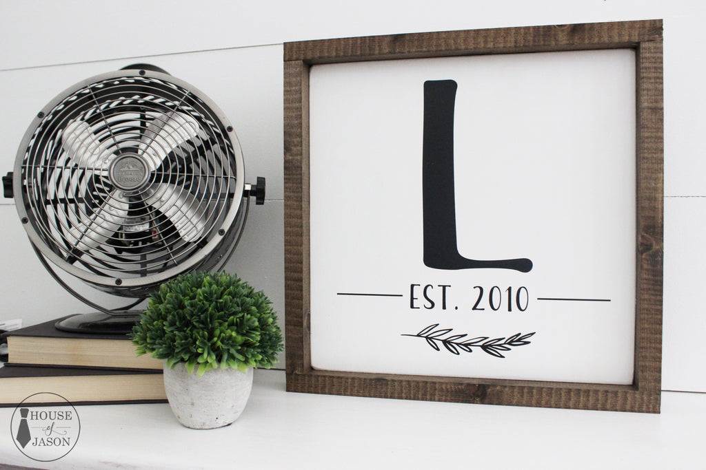 Personalized Initial + Est. Year Wooden Sign (white with black) | 12 x 12
