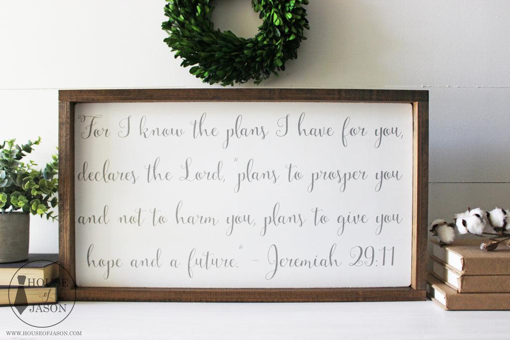 Jeremiah 29:11, Scripture, Religious Decor, Hand Painted Wooden Sign | 24 x 13