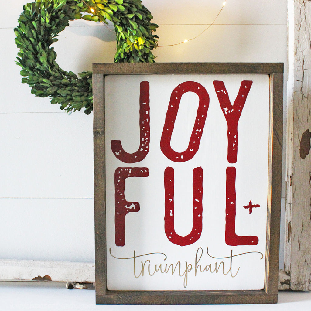 Christmas Decor, Joyful and Triumphant, Christmas Signs, Christmas, Merry Christmas, Joy signs, Joy, Farmhouse style, Farmhouse Christmas, wooden signs, wood signs, gift ideas, Christ, Savior, Jesus, Spiritual signs, spiritual christmas signs