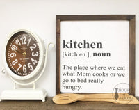 Kitchen Definition, Kitchen Signs, Wood Signs, Farmhouse style kitchen, house of jason, wooden signs, hand painted signs, cook, chef, hungry, Mom rules