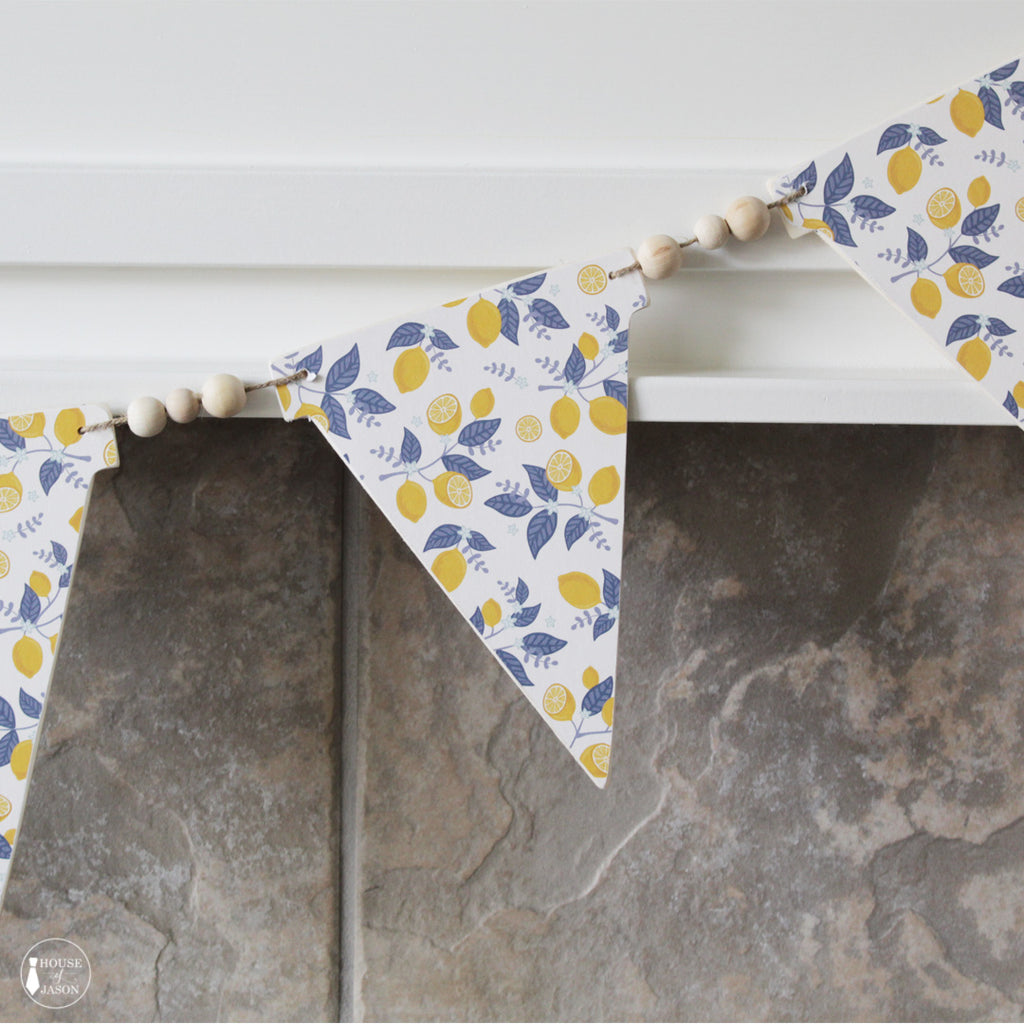 Lemon + Blue Floral Wooden Banner