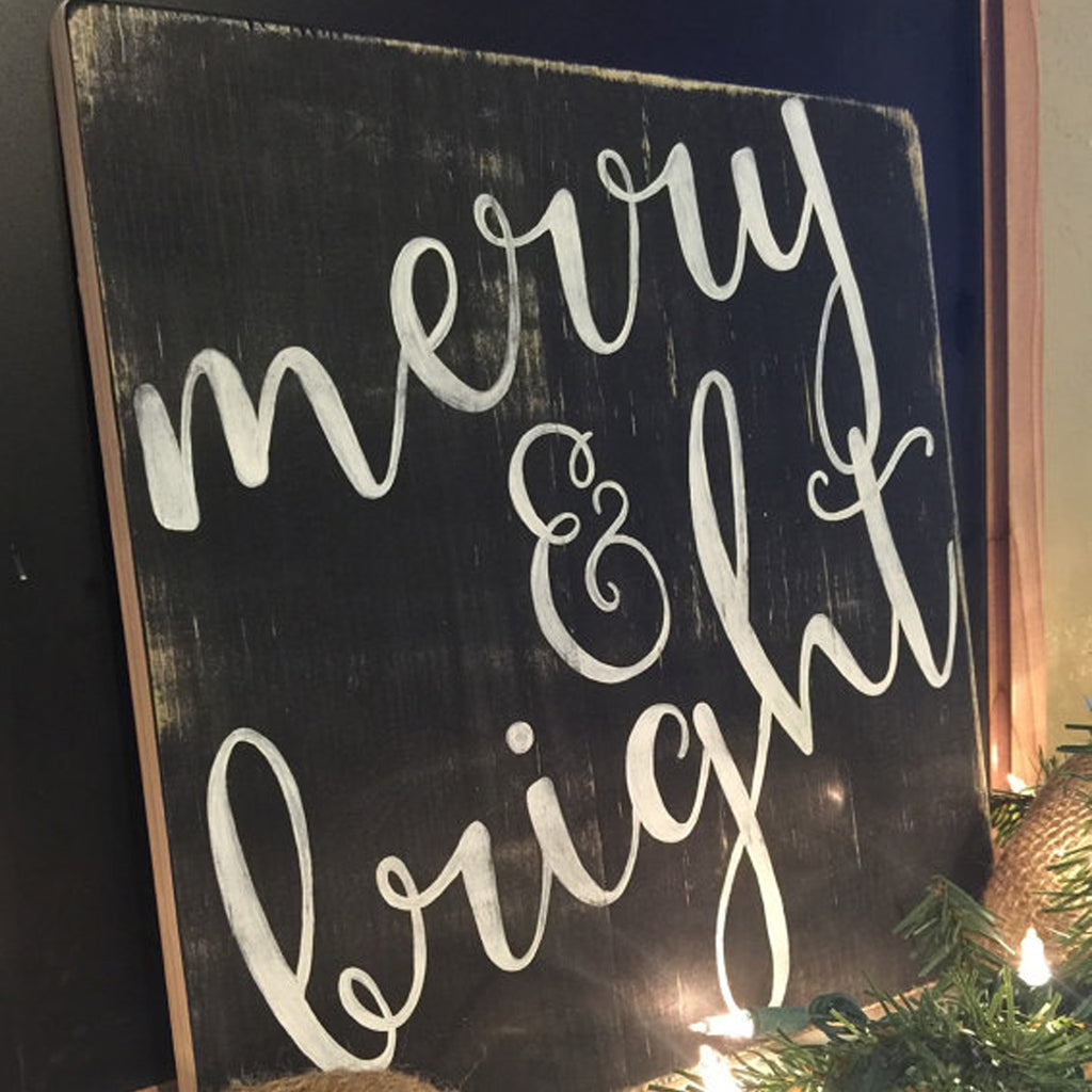Merry & Bright, Christmas Decor, Hand Painted Wooden Sign | 12 x 12