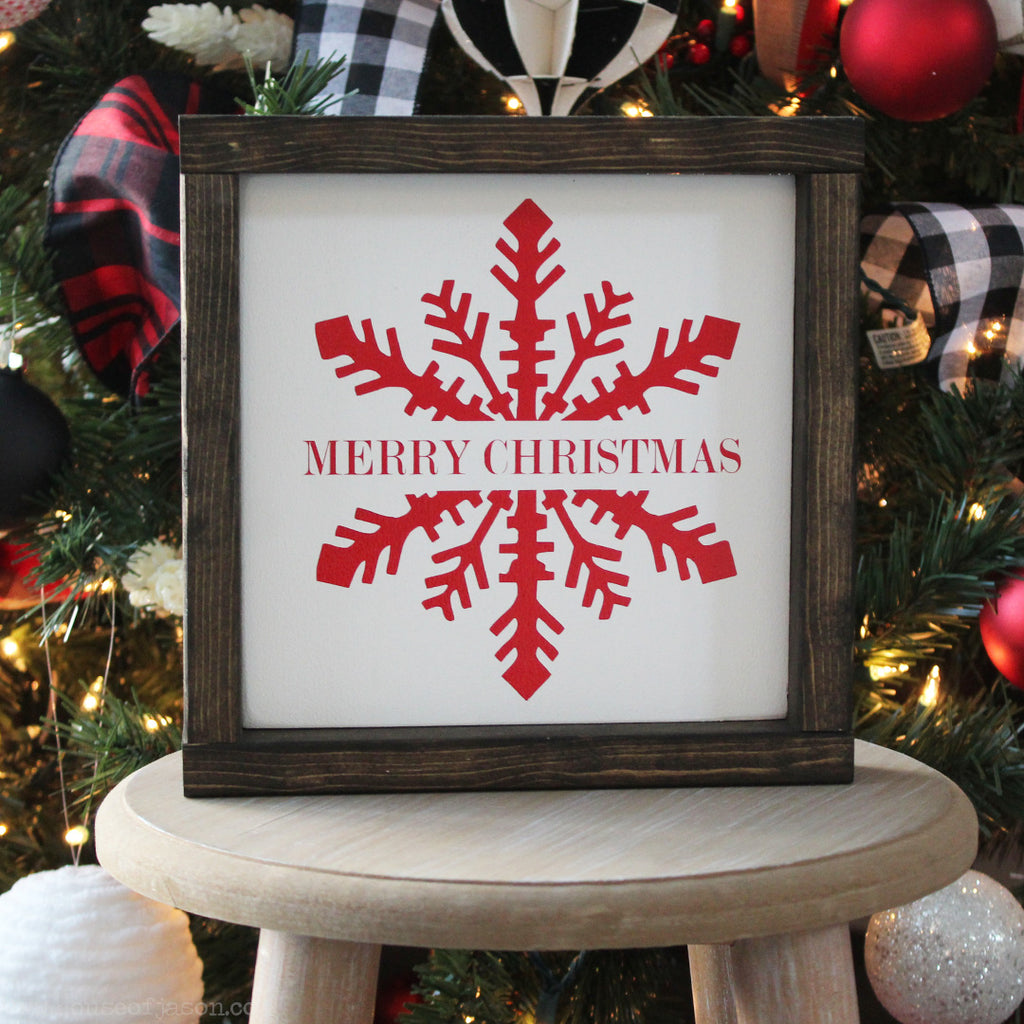 Merry Christmas Snowflake Wooden Sign