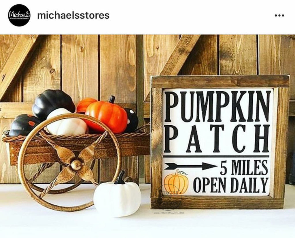 Pumpkin Patch, Fall, Rustic, Hand Painted Wooden Sign | 8 x 8