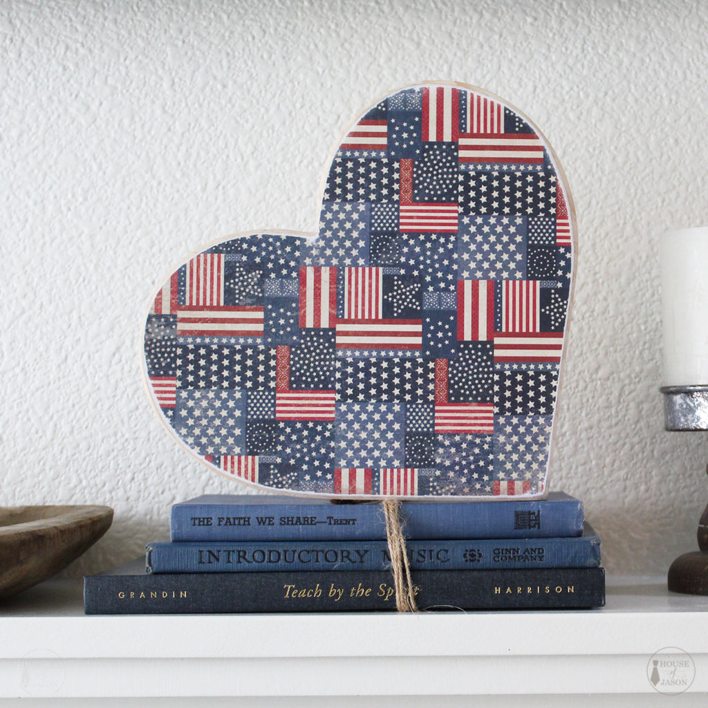 Multi American Flag, Patterned, Shelf Sitter, Wooden Heart | 9""
