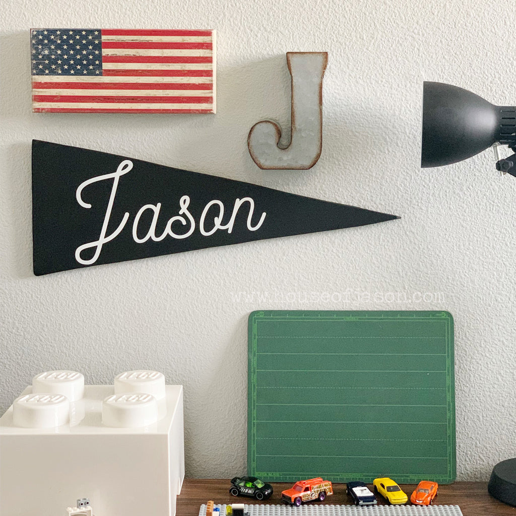 Personalized Wood Pennant | Black & White