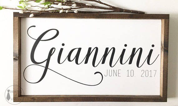 Name + Established Date Wooden Sign | 24 x 13