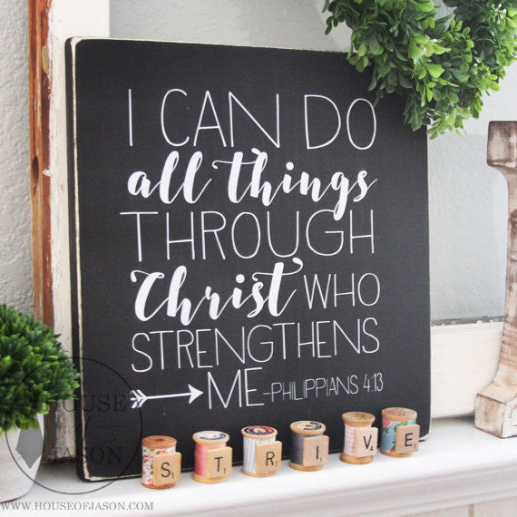 Philippians 4:13 Black and White Wooden Sign | 12 x 12