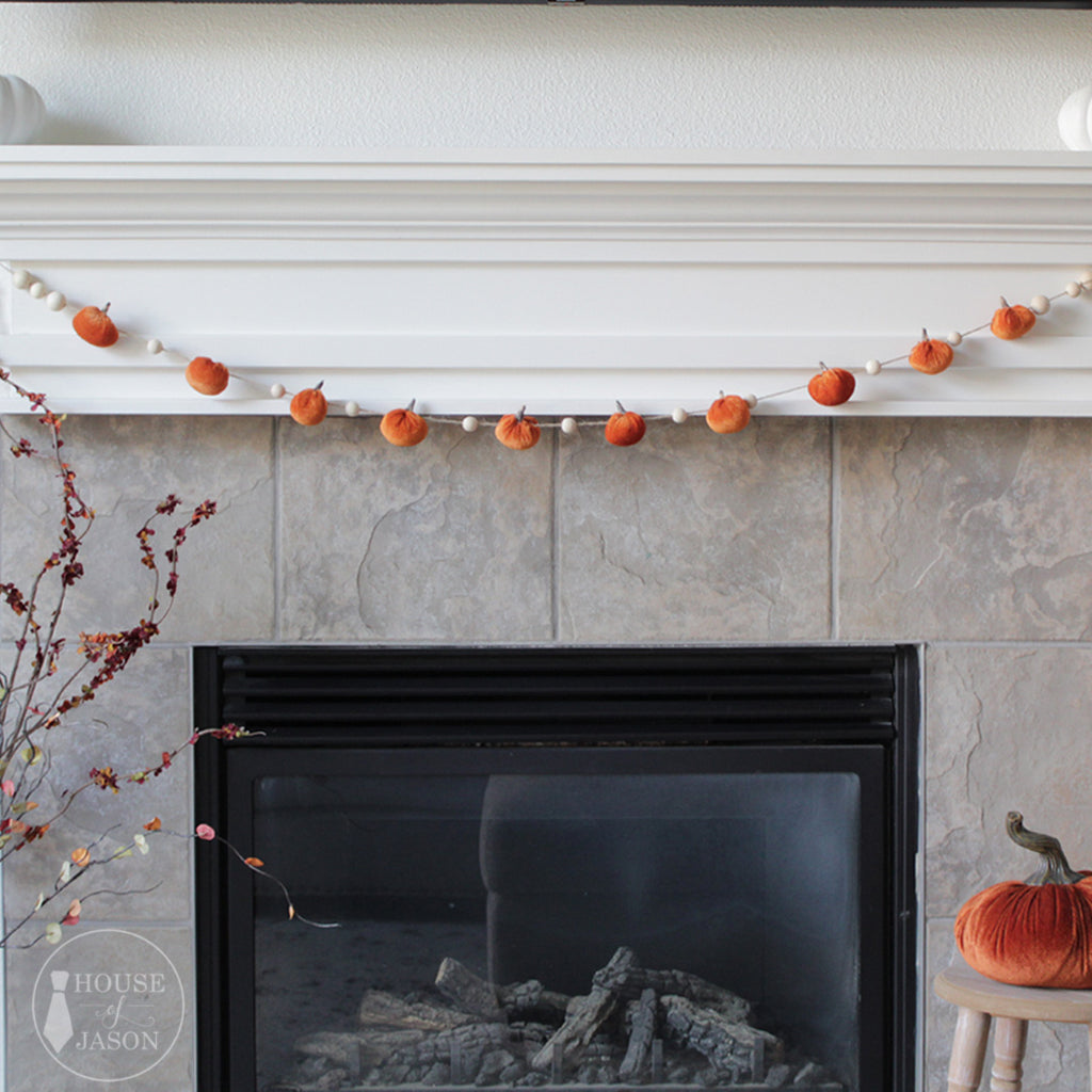 Orange Velvet Pumpkin + Wooden Bead Garland