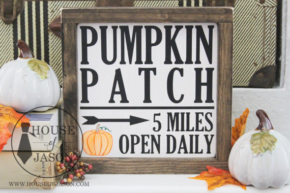 FREE SHIPPING | Pumpkin Patch, Fall, Rustic, Hand Painted Wooden Sign | 8 x 8