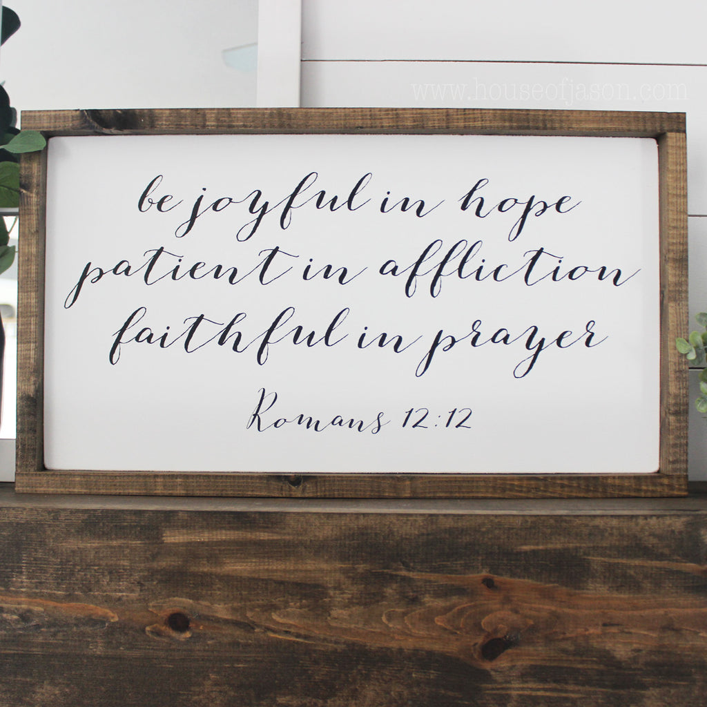 Romans 12:12 Framed Wooden  | 25 x 13