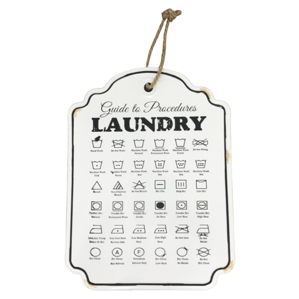 Laundry Procedures Enamel Sign