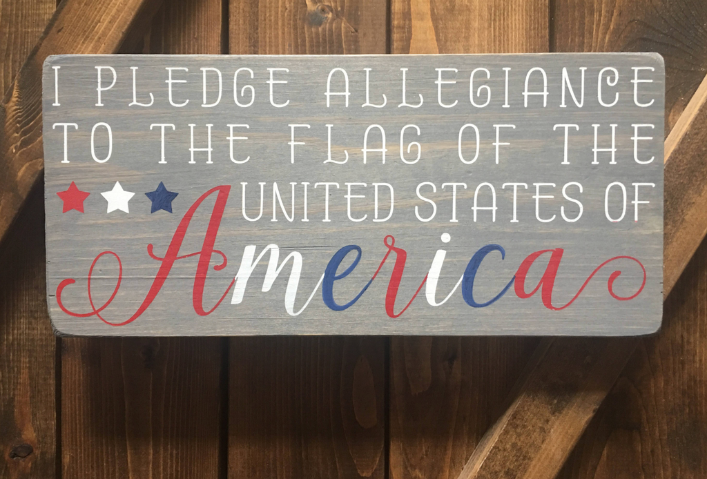 Pledge of Allegiance Wooden Sign | 6 x 12