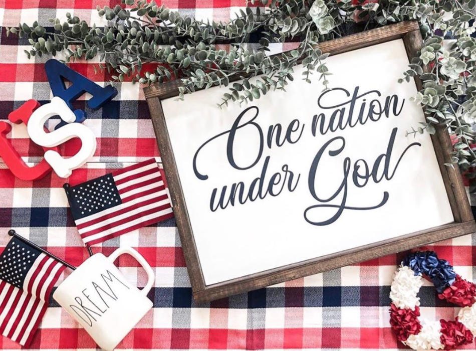 One Nation Under God Wooden Sign | 12 x 16
