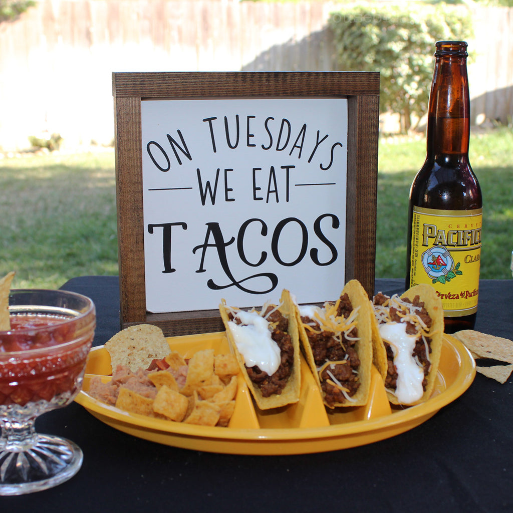 Taco Tuesday, Funny, Kitchen Hand Painted Wooden Sign | 8 x 8