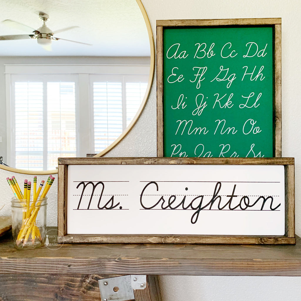Teacher Name, Cursive Wooden Sign | 24 x 8