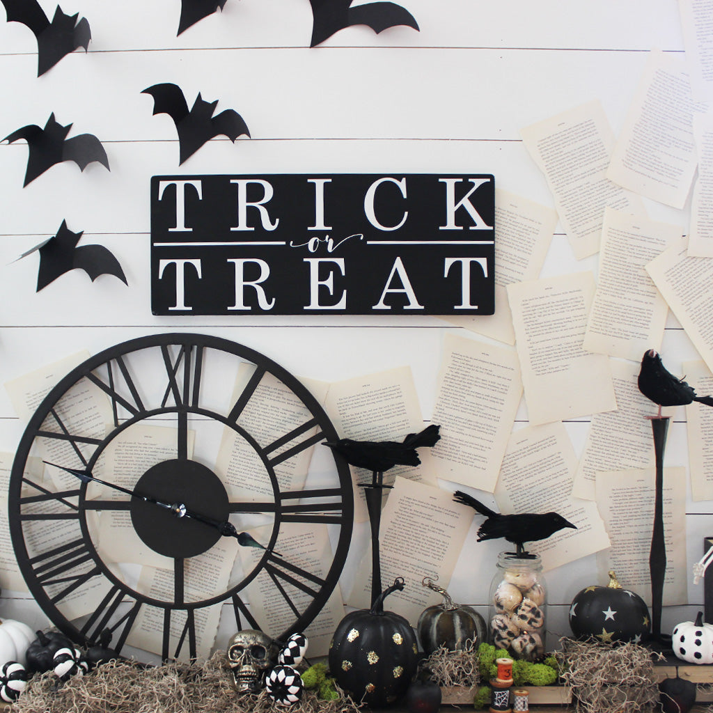 Halloween Decor, Trick or Treat, Black and White, Hand Painted Wooden Sign | 9 x 22