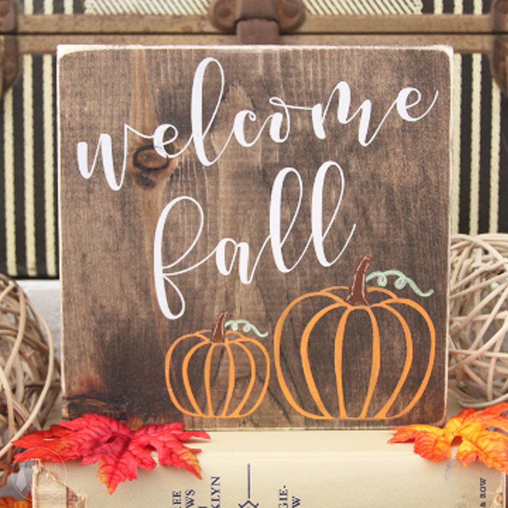 Welcome Fall Wooden Sign | 7 x 7