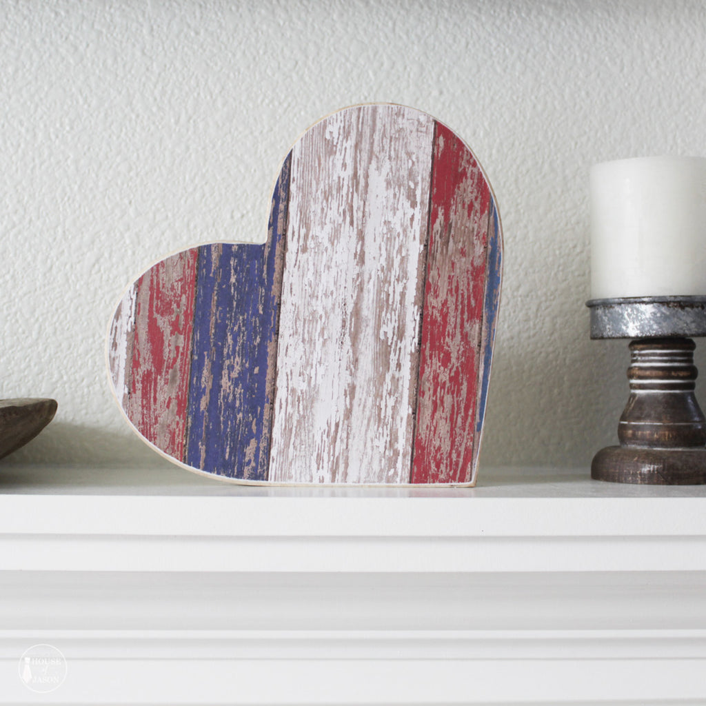 Red, White and Blue Distressed Shelf Sitter, Wooden Heart | 9""