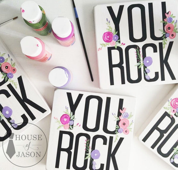 You Rock, You Rock Sign, Hand Painted Flowers, Floral, Boho Chic, Boho Office Decor, Birthday Party Favors, Flowers, Hand painted signs, wood signs, House of Jason, You rock floral sign