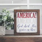 4th of july, 4th of july signs, God shed His grace on thee, 4th of july signs, home decor, memorial day signs, memorial day sale, house of jason, USA, wood signs, USA, America the brace,