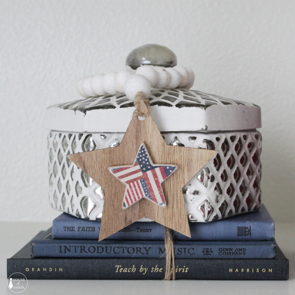 Red, White and Blue Rustic Star Blessing Beads