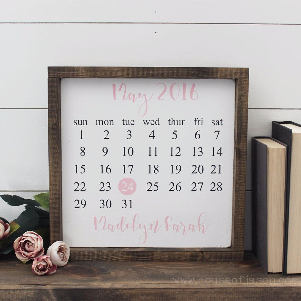 Birthday Calendar, Hand Painted Wooden Sign | 12 x 12