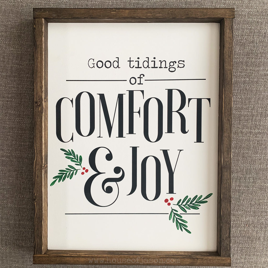 Comfort and Joy Wooden Sign | 12 x 16