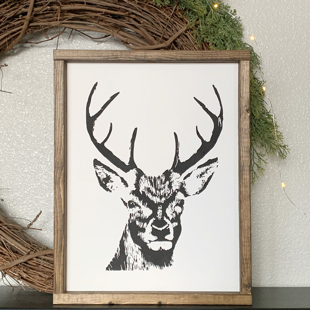 Winter Deer Wooden Sign | 12 x 16