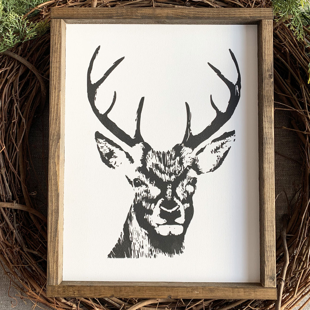 READY TO SHIP | Winter Deer Wooden Sign | 12 x 16