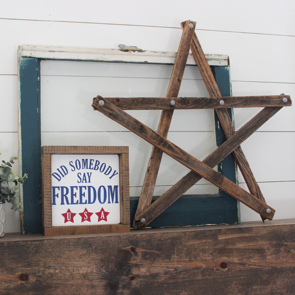 Did Somebody Say Freedom, 4th of July, Hand Painted Wooden Sign | 8 x 8
